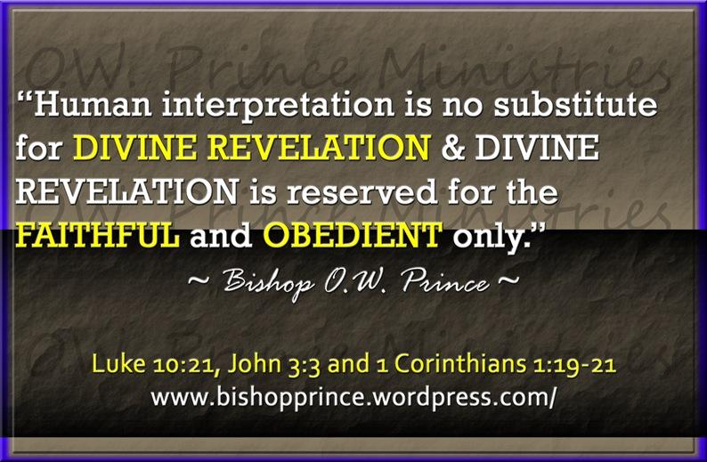REVELATION NOT INTERPRETATION